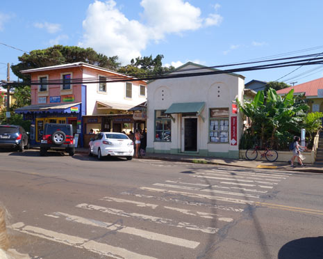 Quaint Paia downtown shops on Maui