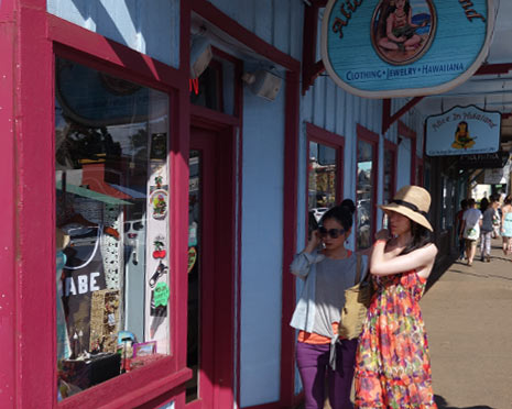 Tourists shopping in Paia
